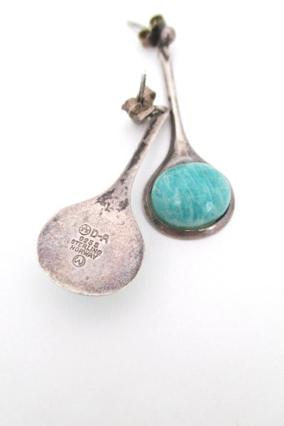 David Andersen rare silver & amazonite drop earrings