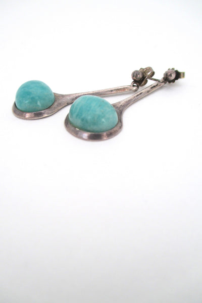 profile David Andersen Norway vintage silver & amazonite mid century modern drop earrings by Willy Winnaess 1950s