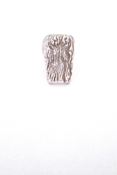 Knud V Andersen textured silver 'bark' ring