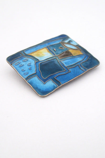 detail David Andersen Norway vintage sterling silver Scandinavian mid century enamel four seasons winter brooch Nordic Design