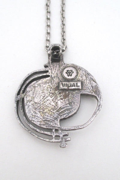 Guy Vidal openwork pewter pendant necklace