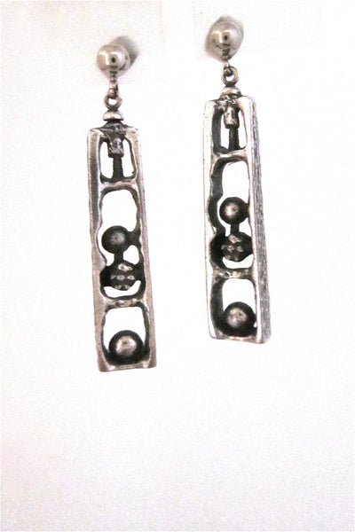 Guy Vidal Canada brutalist pewter cubicles drop earrings