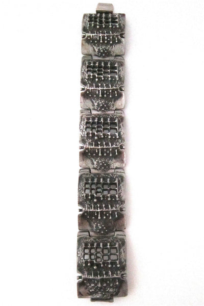Robert Larin Canada brutalist pewter lichen and windows panel link bracelet