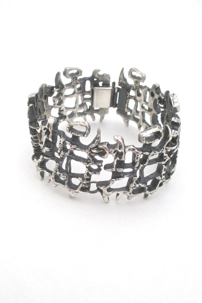 Guy Vidal openwork pewter panel link bracelet