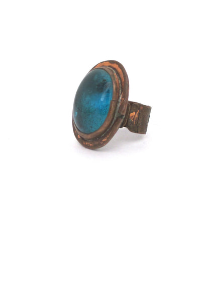 Rafael Canada copper & aqua glass ring - early
