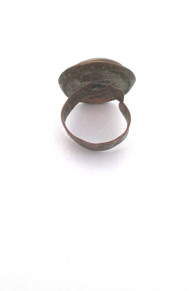 profile Rafael Alfandary Canada vintage brutalist copper aqua glass ring early