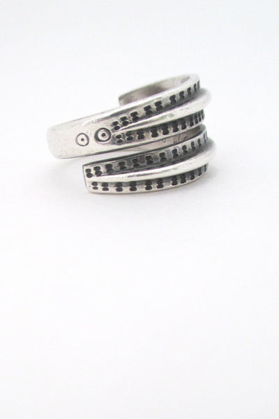detail of David Andersen Norway vintage silver Saga ring at Samantha Howard Vintage