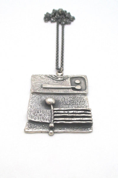 Guy Vidal large dimensional pewter pendant necklace