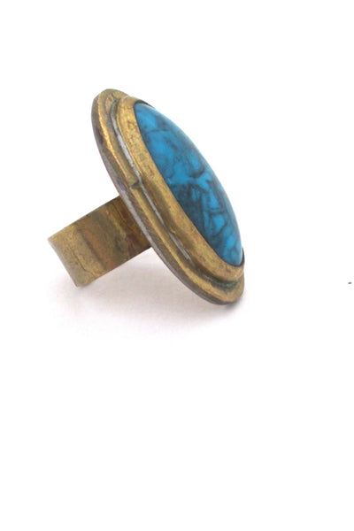 profile Rafael Alfandary Canada vintage large brutalist brass faux turquoise glass ring