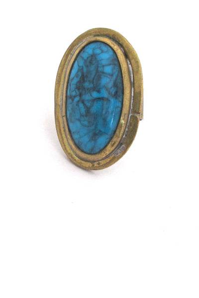 Rafael Alfandary Canada vintage large brutalist brass faux turquoise glass ring