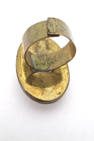 Rafael Canada large brass & faux turquoise glass ring