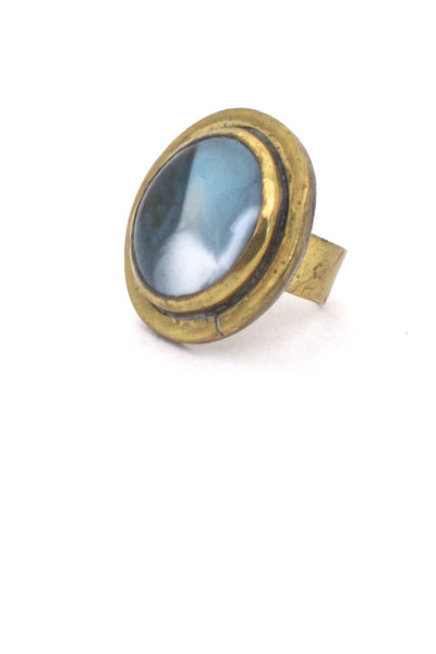 detail Rafael Alfandary Canada vintage brutalist brass blue white glass ring