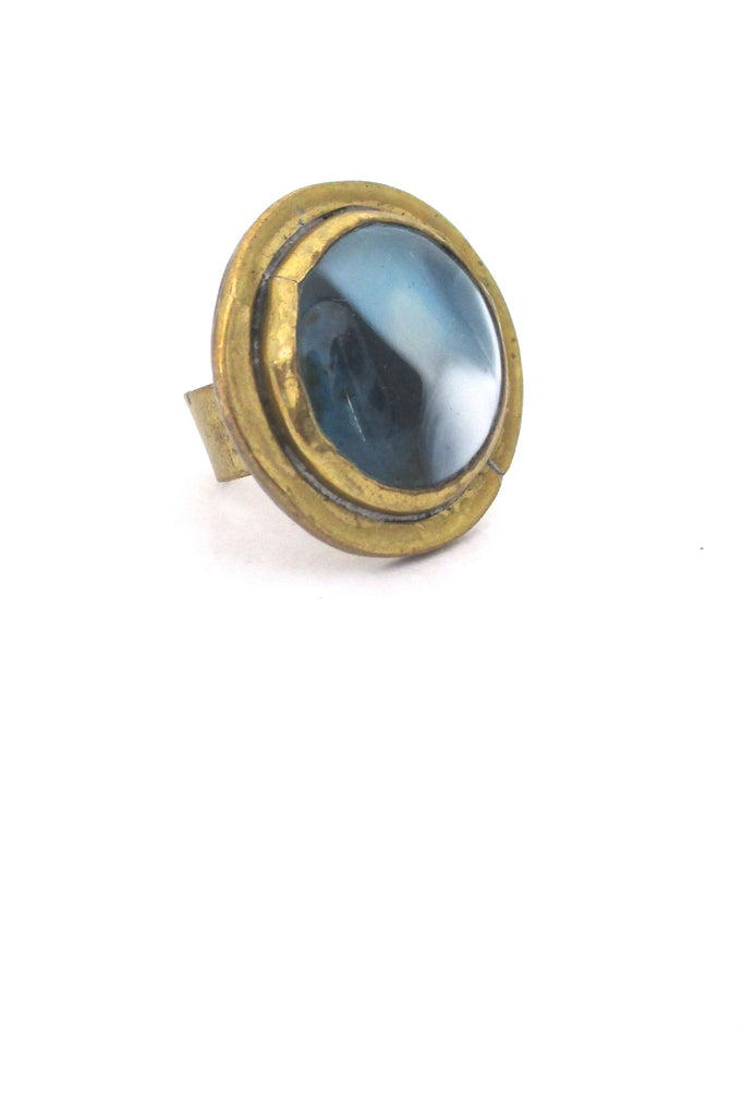 Rafael Alfandary Canada vintage brutalist brass blue white glass ring