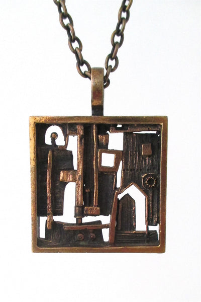 Jorma Laine Finland vintage Scandinavian Modernist bronze open door pendant necklace