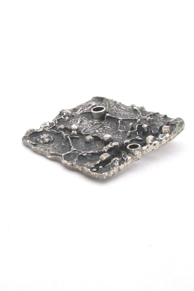 profile Guy Vidal Canada large textural pierced pewter brutalist brooch