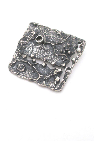Guy Vidal Canada large textural pierced pewter brutalist brooch