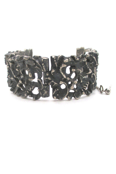 profile Robert Larin Canada large vintage brutalist pierced pewter rugged panel link bracelet