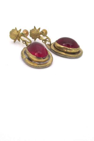 profile Rafael Alfandary Canada vintage mid century brass drop earrings in red