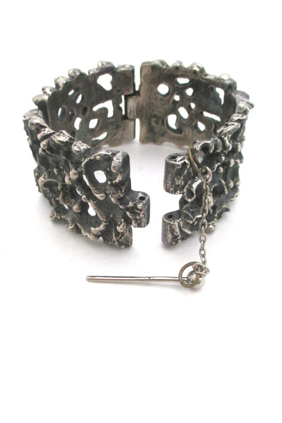 detail Robert Larin Canada large vintage brutalist pierced pewter rugged panel link bracelet