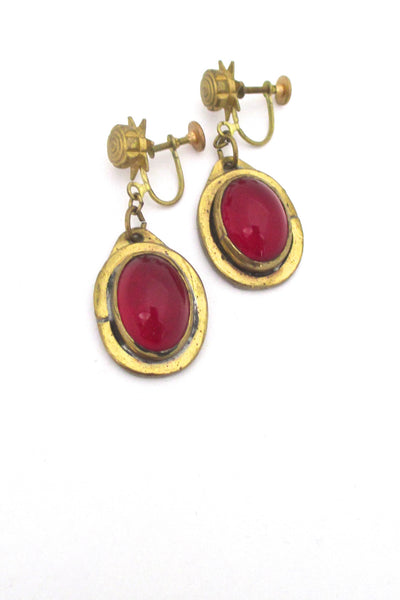 Rafael Alfandary Canada vintage mid century brass drop earrings in red