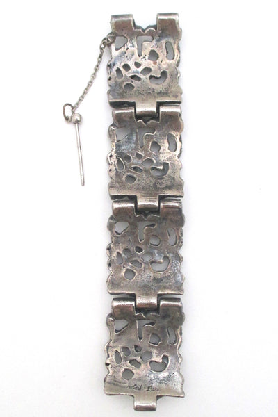 Robert Larin Canada wide pierced pewter panel link bracelet