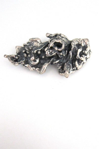 Guy Vidal large, deeply textured brooch