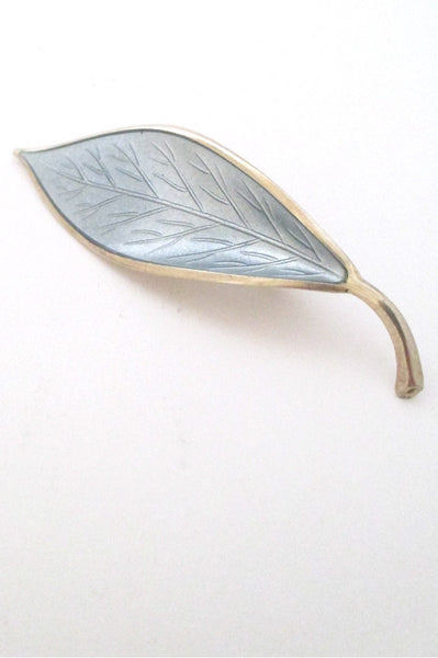 David-Andersen Norway vintage silver & enamel grey leaf brooch by Willy Winnaess
