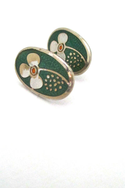 de Passille Sylvestre enamel oval flower earrings