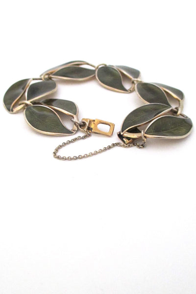 David-Andersen Norway vintage silver & enamel olive green leaf bracelet by Willy Winnaess