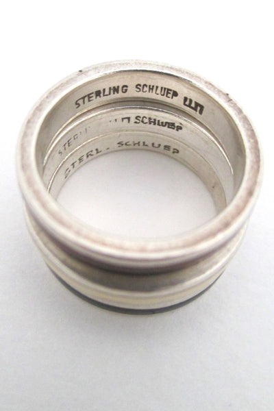 Walter Schluep silver & enamel stacking rings trio