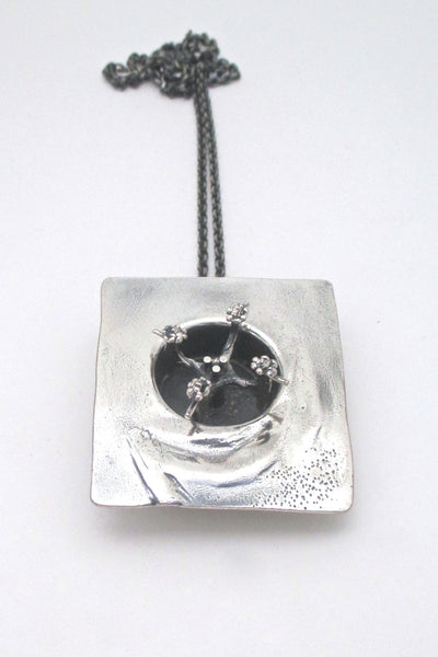Guy Vidal rare kinetic shadowbox pendant necklace