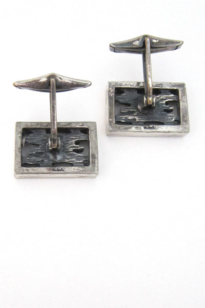 Robert Larin framed bark cuff links