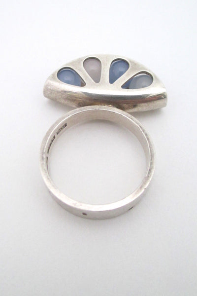 Elis Kauppi pale chalcedony 'fan' ring