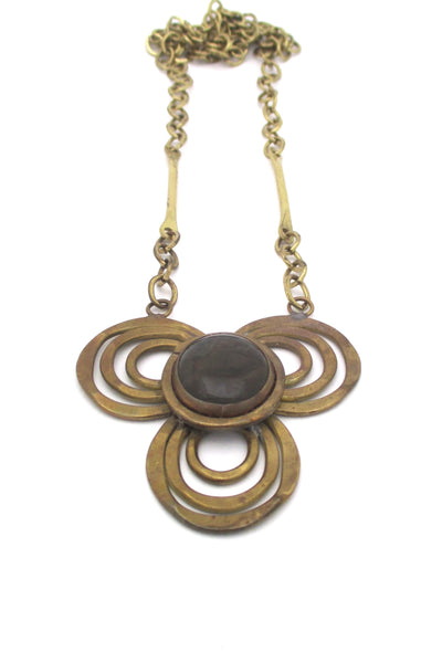 Rafael Canada brass & smoky clear trefoil necklace