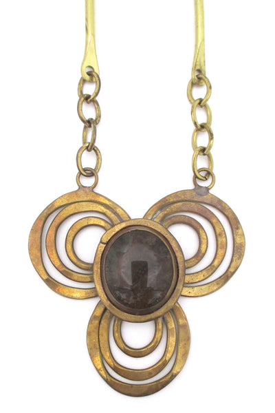 detail Rafael Alfandary Canada vintage brass smoky clear trefoil necklace