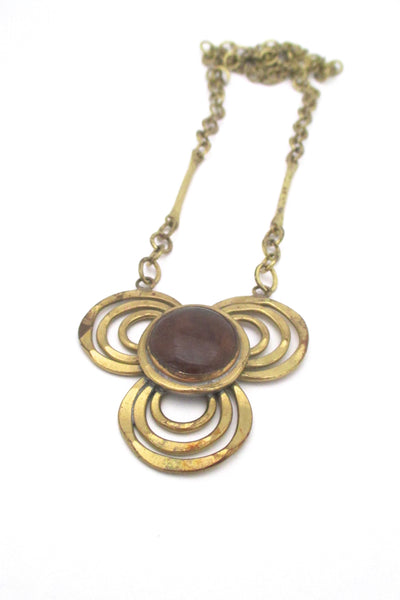 Rafael Canada brass & amber glass trefoil necklace