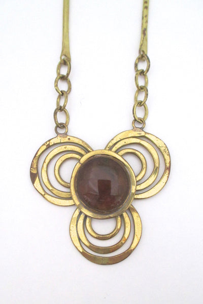 detail Rafael Alfandary Canada vintage brass amber glass trefoil necklace
