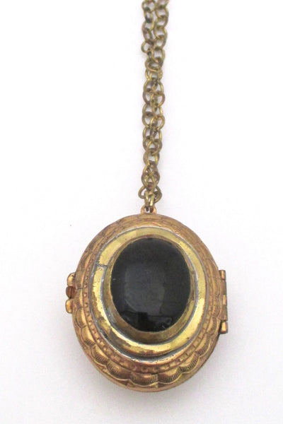 Rafael Canada brass & 2 sided locket necklace - green & black