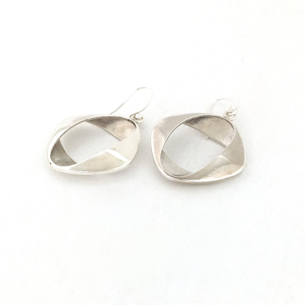 profile Georg Jensen Denmark vintage silver earrings 190 by Henning Koppel Scandinavian Modernist jewelry design