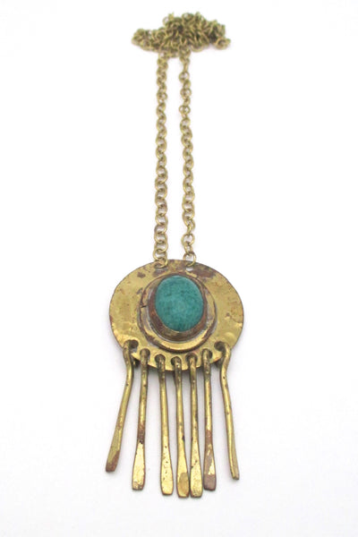Rafael Canada brass & mottled green fringe necklace