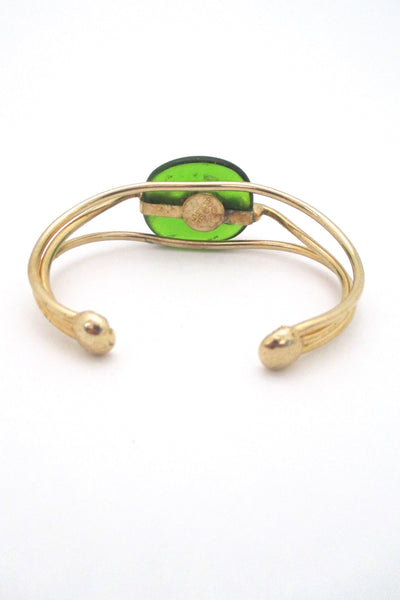 Rafael Canada gold tone & apple green cuff bracelet