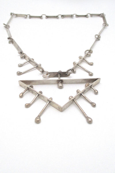 detail Studio made large kinetic primitive modernist silver necklace brutalist style