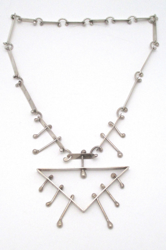 studio made large sterling silver kinetic necklace