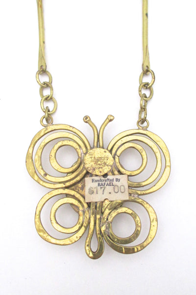 Rafael Canada brass & clear butterfly necklace