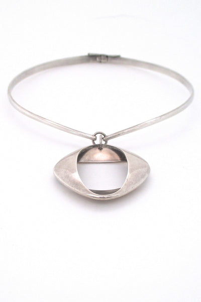 Georg Jensen Denmark vintage modernist silver pendant 368 by Henning Koppel on original neck ring