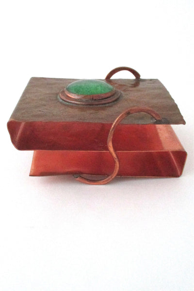 Rafael Alfandary Canada vintage brutalist copper and glass playing card holder