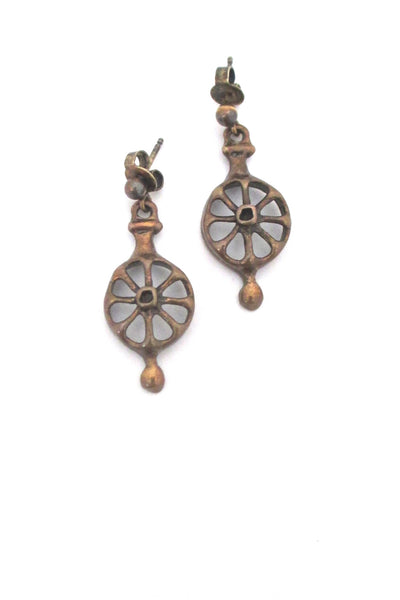 Uni David-Andersen bronze drop earrings
