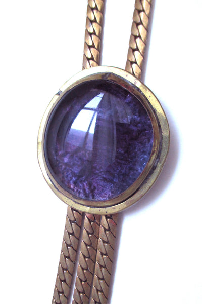 Rafael Alfandary Canada vintage brutalist brass and glass purple fringe necklace