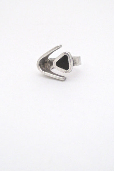 Puig Doria silver & ebony open ring
