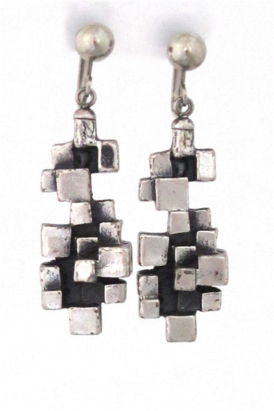 Canadian Modernist Guy Vidal cubes drop earrings